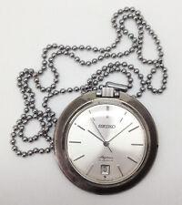 Vintage SEIKO Skyliner Mechanical Pocket Watch. 42mm Case. Silver Dial. Date.