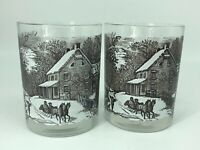 Set of 2 Brown Currier & Ives Drinking Glasses Winter American Homestead Scene