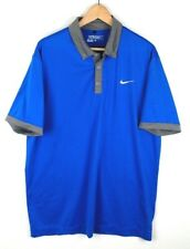 Nike Golf Mens Large Dri Fit Polo Short Sleeve Shirt S/S Bright Blue and Grey