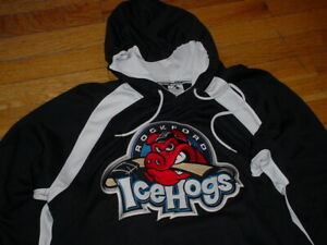 Rockford IceHogs Hockey Team Issued Hoodie Jersey Wicking-Polyester Sewn-Patch L
