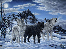 NIGHT HOWL WOLVES - 3D MOVING PICTURE 400mm x 300mm (NEW)