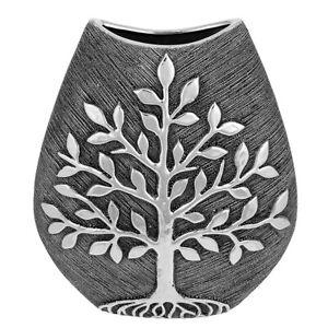 Tree of Life Large Wide Vase - Gunmetal