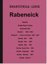 Rabeneick binetta i III 1 3 Super Star kick 5 repuestos lista catálogo de repuestos