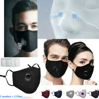 Windproof Mask + 2 Free Filters, Washable Air Purifying Face Mask Mouth, 2 Types