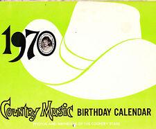 Country Music Birthday Calendar 1970 Entertainment Memorabilia Collectible