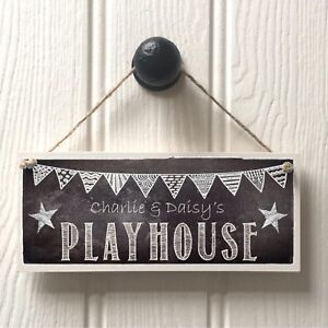 Personalised Boys Playhouse Door Sign - Handmade Kids Chalkboard Playhouse Sign