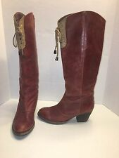 Anthropologie High Tied Boots Red Leather 37 Holding Horses Made in Spain