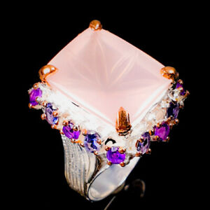 IF Carving Sweet AAA Gem Rose Quartz Ring Silver 925 Sterling  Size 8 /R176255