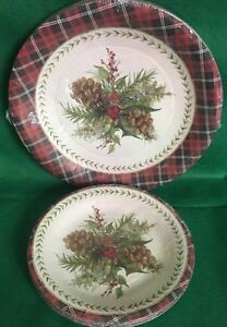 C R Gibson 32 Pc ADIRONDACK HOLIDAY Dinner And Luncheon/Dessert Plates New