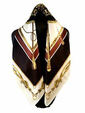 St. Germain Mulberry Silk Scarf Black And Ivory Equestrian 52cm FREE SCARF RING