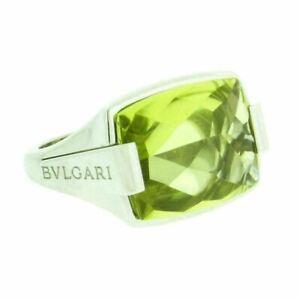 Bvlgari peridot ring in 18 karat white gold size 6.5
