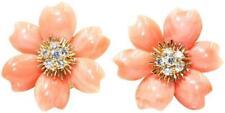 Van Cleef & Arpels Rose De Noel Flower Coral Gold Diamond Earrings