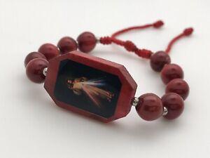 Divina Misericordia Bracelets hechas a mano (paquete de dos piezas color rojo)