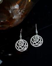 Boucles d`Oreilles Fleur Rose Creux Fin Placqué Or Blanc CZ Mariage Mariée G 1