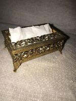 Vintage  Gold /Brass  Small TISSUE HOLDER. Great Condition. Ships USPS