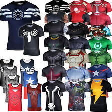 Mens Marvel Compression T-shirt Vest Base Layer Sports Gym Cycling Jersey Tops