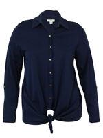 Charter Club Women's Pima Cotton Tie-Front Top (Intrepid Blue, XL)