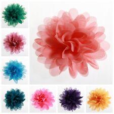 "15PCS 3.9"" 9.8CM Big Chiffon Flowers For Girls Headbands Fabric Puff Flower"