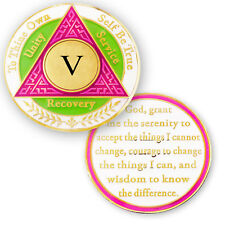 AA coin 5 year, Pink Green White, anniversary recovery alcoholics anonymous