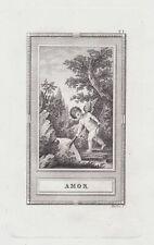 Amor Cupid god Götter Antike Griechen Mythologie mythology Kupferstich etching
