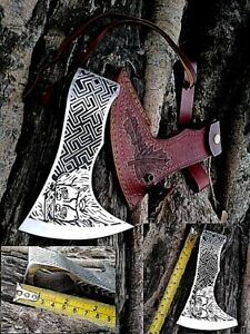 MDM VINTAGE HATCHET AXE HAND ENGRAVED HAMBER MAN INLAY TOOLED LEATHER SHEET HEAD