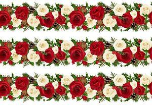Blumen Rosen eßbar Torten-Band-Bordüre-Bild Party Deko Geburtstag Girlande