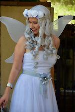 White Fairy Pixie Nymph Costume Halloween Dress Cosplay Sz M Wings Headdress