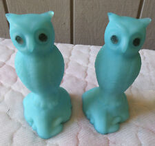 2 Westmoreland Paperweight Owls on Stump 1960's-70's Blue Satin Glass with Label
