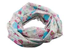 Damen-Rundschal Loop Blumen weiß türkis pink ca. 25 cm x 140 cm