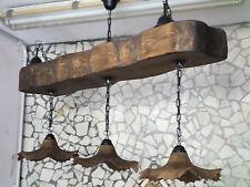 Lampadario in stile rustico in legno e terracotta trave antichizzata da 120 cm