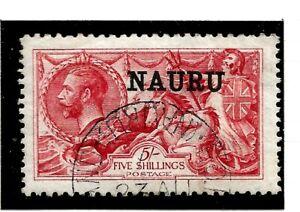 NAURU(Z-850) 1916 SG22 5/- DE-LA-RUE BRIGHT CARMINE  O/PRINT VERY FINE USED CDS