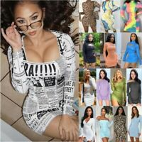 New Women Casual Long Sleeve Bodycon Mini Dress Ladies Holiday Party Slim Dress