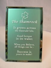 About Face Designs Shamrock Plaque #124004 New in Box Glass