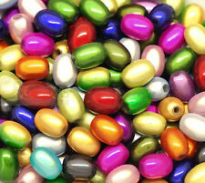 50 x Oval 3d Illusion Miracle Beads - Mixed Colours  11mm x 6mm  UK Seller