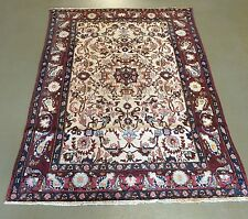 Ivory background Isfahan mobarakah hand knotted 100% wool rug 4'8 x 7