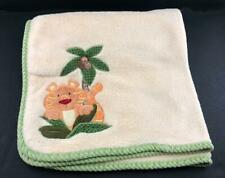 Baby Blanket Luxurious Velour Plush Tiger Palm Tree Embroidered Applique Yellow