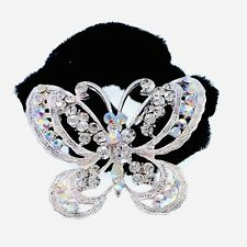 Butterfly Ponytail holder Elastic Rhinestone Crystal Hair Tie Rope Silver 1-6