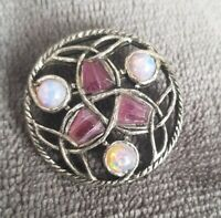 Vintage Celtic Style Silver Tone Miracle Brooch boronite Amethyst stones box 2