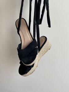 Black Tie Up Platform Wedge Sandals UK Size 5 - Glamorous