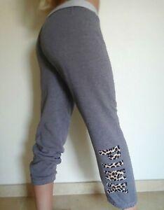 Victoria's Secret PINK GRAY Leopard cropped Jogger Sweat pants lounge M