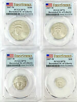 2007-W 4 Coin Burnished Platinum Eagle Set PCGS SP70 First Strike *Stunning*