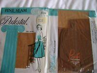 Vintage Nylon Stockings, Pedestal Fine Seam FF, 2 Pairs, Size 9