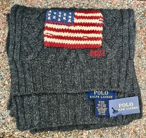 Polo Ralph Lauren Lamb's Wool Scarf w/ USA Flag New With Tags Nice!