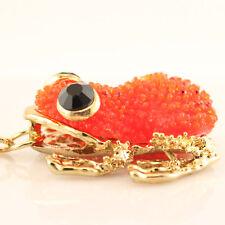 Red Frog Fashion Keychain Rhinestone Crystal Charm Animal Bug Insects Gift 01268