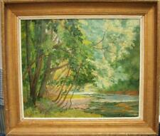 Large 19th Century French Impressionist Plein Air WoodedL/S Antique Oil Painting