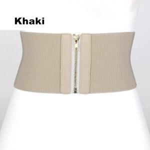 Elastic Cloth Wide Waist Belt Corset Bodycon Zips Buckle Waistband Women Belt