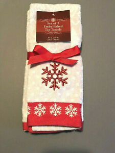 Snowflake Christmas 100% Cotton Fingertip Towels Set of 2 Embroidered Guest