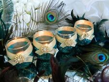 6 Candle Holders, Wedding Candles, Peacock Decor, Peacock Wedding, Peacock Weddi