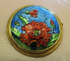 Brooch Round IN Email Enamels Paris Signed Brevers Decor Poppies Red