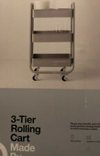 3 Tier Metal Utility Cart Universal Storage Narrow Cart Wheeled Home Organizer